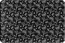 Tappeto da bagno porta foresta nero bianco piante