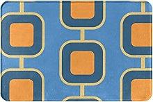 Tappeto da bagno quadrato blu vintage tigri memory