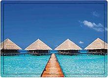 Tappeto da bagno50x80cm, Art, Maldive Dock with