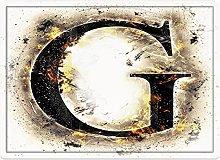 Tappeto da bagno50x80cm, Lettera G, Abstract Blaze