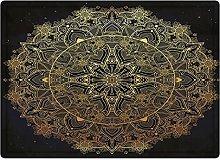 Tappeto da bagno50x80cm, Mandala in oro, pizzo