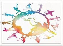 Tappeto da bagno50x80cm, Mappa del mondo,