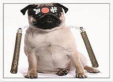 Tappeto da bagno50x80cm, Pug, Ninja Puppy with