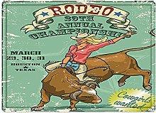 Tappeto da bagno50x80cm, Retrò, Cowgirl Rodeo sul