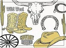 Tappeto da bagno50x80cm, Western, Cowboy Rodeo