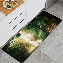 Tappeto da cucina, cervi e cascata, impermeabile