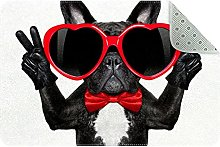 Tappeto da cucina con bulldog francese felice,
