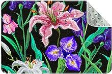 Tappeto da cucina con fiori, colore: nero, rosa,