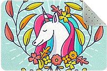 Tappeto da cucina con unicorno, colore: bianco