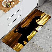 Tappeto da cucina, cowboy al tramonto,