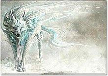 Tappeto da Soggiorno Lupo animale azzurro 200X290