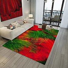 Tappeto da Soggiorno Piume rosse e verdi 120X170