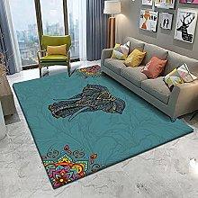 Tappeto Design Tappeto Mucchio Corto Elefante blu