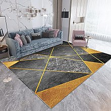 Tappeto,Grigio-Giallo Geometrico 80x160cm
