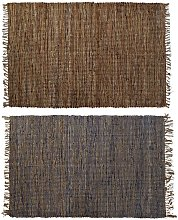 Tappeto Iuta Cotone Pelle Indiano (2 pcs) (160 x