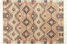 Tappeto kilim in cotone e iuta multicolore,