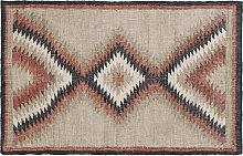 Tappeto kilim tessuto a mano in juta con nappe 160