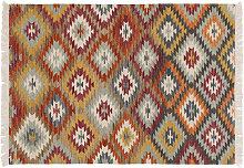 Tappeto kilim tessuto a mano in lana e cotone 160