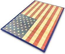 Tappeto Legno Bamboo Cm. 50X80 America Bandiera