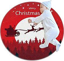 Tappeto natalizio con cervi e Babbo Natale,