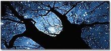 Tappeto Passatoia Albero stellato blu 60cm X 90cm