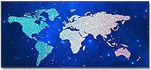 Tappeto Passatoia Mappa del mondo blu 60cm X 180cm