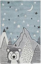 Tappeto per bambini motivo blu e grigio 100x150 cm