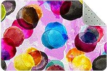 Tappeto rettangolare con cerchio colorato per