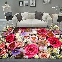 Tappeto Rosa 120 x 170 cm Fiori Colorati 3D Extra