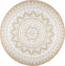 Tappeto rotondo bianco in iuta e cotone 180 cm
