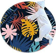 Tappeto rotondo con foglie tropicali giallo, blu,