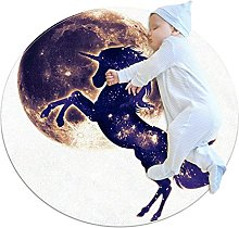 Tappeto rotondo con unicorno, con galassia di