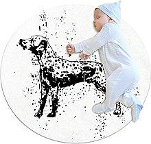 Tappeto rotondo Dalmata bianco nero carino