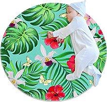 Tappeto rotondo fiori di ibisco Tappetto
