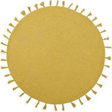 Tappeto rotondo in cotone giallo senape con