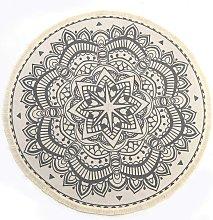 Tappeto rotondo in cotone stile boho indiano