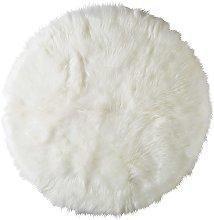 Tappeto rotondo in simil pelliccia bianco D.140 cm