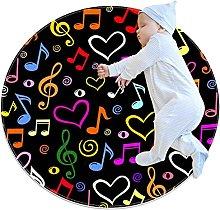 Tappeto rotondo lavabile con note musicali per