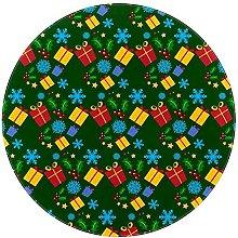 Tappeto rotondo per area natalizia verde scatola