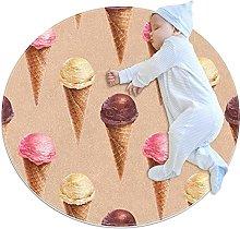 Tappeto rotondo per interni ad acquerello, gelato