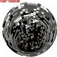 Tappeto rotondo spaziale 3D, illusioni ottiche a