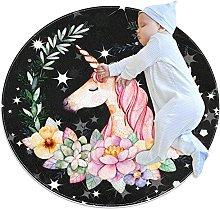 Tappeto rotondo unicorno fiore nero Tappetto