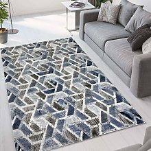 Tappeto salotto design moderno Double grigio blu