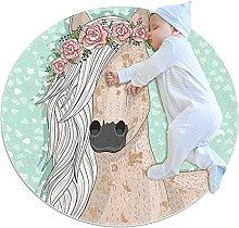 Tappeto Salotto Fiore di unicorno verde Tappetino