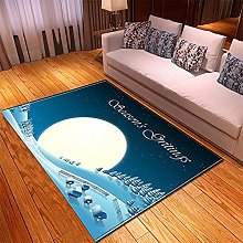 Tappeto Salotto Moderno 150X200cm Luna Bianca Blu