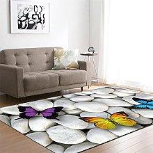 Tappeto Salotto Moderno Farfalla di colore bianco