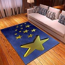 Tappeto Salotto Moderno Stelle d'oro blu