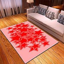 Tappeto Salotto Moderno Stelle Rosse Rosa Modello