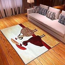 Tappeto Salotto Rosso Marrone Giallo 3D Modello,