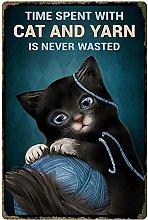 Targa in latta con gatto nero con gatto e filato